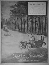 PUBLICITÉ DE PRESSE 1914 ROCHET SCHNEIDER AUTOMOBILES DE LUXE - ADVERTISING