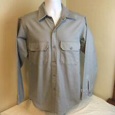 Vtg Woolrich Mens Chamois Flannel Shirt Gray Long Sleeve Medium USA Made FS!