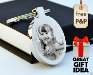 Metal Oval Keyring Personalised PHOTO ENGRAVED FREE P&P Father's day Gift