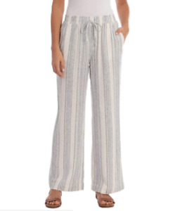 Briggs Ladies Pull-On Pant Linen Blend, White Stripe, Size L