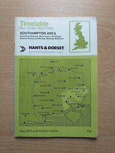 Hants & Dorset, Southampton Area bus timetable, May 1974