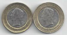 2 BI-METAL 1 BOLIVAR COINS from VENEZUELA DATING 2007 & 2009