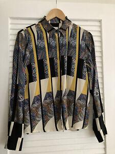 Dries Van Noten Women's Silk Abstract Print Blouse Size 40