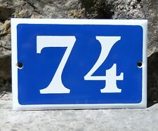 N° 74. French Antique House Number. Enamel Plate. Blue & Withe.