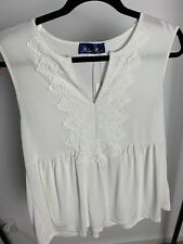 Francesca's Blue Rain Sleevless Top With Lace Size Small
