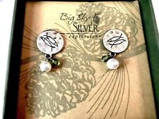 NIB BIG SKY SILVER EXPRESSIONS 'FAITH' STERLING DANGLE PEARL PIERCED EARRINGS