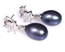 Unique Cultured Oval Black Blue Purple Tone 8.6x11.6mm Pearls Dangle Earrings