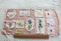 10 Vintage Swiss c1930-1940 Embroidered Rose Fabric Samples