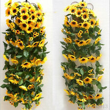 Plastic Artificial Sunflower Garland Flower Vine Home Wedding Decor Floral DIY