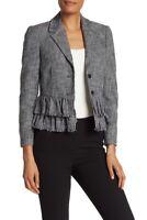 NWT REBECCA TAYLOR Slub Suiting Jacket in Gray/Black - Size M #C998