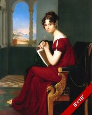 BEAUTIFUL YOUNG WOMAN PEN & PAPER AUTHOR ARTIST PAINTING ART REAL CANVAS PRINT