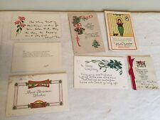 Antique 1915 Christmas Postcards And Memorabilia Paper Epherma Junk Drawer Lot