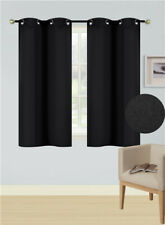NEW 2PC SOLID GROMMET PANEL WINDOW CURTAIN THERMAL 100% INSULATE BLACKOUT K54