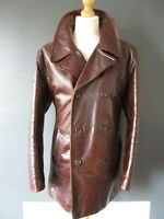 "RETRO LINEA LEATHER PEACOAT (XL-44"") CHOCOLATE-BROWN MINDER SWEENEY QUILTED - Ex"