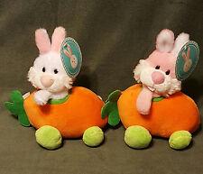 "2 NWT Sound & Light Bunny Carrot Cars Plush 8"" Stuffed Rabbit White Pink Orange"