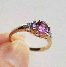 10kt White and Yellow Gold Amethyst and Diamond Ring Size 7