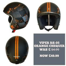 Viper RS05 Open Face Motorbike Motorcycle Helmet Orange chequer size medium.