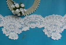 """5.5"""" Bridal Wedding White Hand Sewn Beads+ Cord Floral Lace -1 Yard-T507L"""
