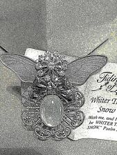 wings w/lines like leaves,11 crystals on Angel Pin Silver Plate brushed look