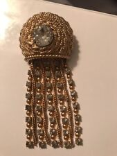 Exquisite Vtg NAPIER  Rhinestone Waterfall Gold Tone Brooch HTF