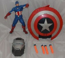 "AVENGERS CAPTAIN AMERICA 11"" Action Figure MARVEL Talking & Stealth Fire Shield"