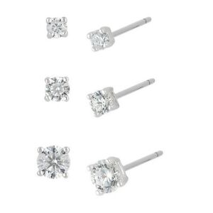 Sterling Silver and Cubic Zirconia Round Stud Earrings - 3 PAIR PACK