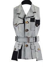 MAISON MARTIN MARGIELA Cutout Paint Effect Wool Halterneck Waistcoat UK 10 £2400