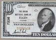 IL  1929  $10   ♚♚ ELGIN, ILLINOIS ♚♚  THE UNION NB