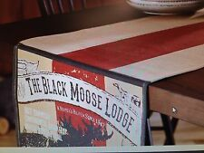 "Country Primitive Lodge Cabin Cotton 72"" Table Runner  Moose"
