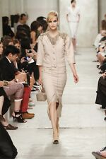 CHANEL Designer 2014 Resort Beige/Gold Metallic Jacket Sz 44 NWT