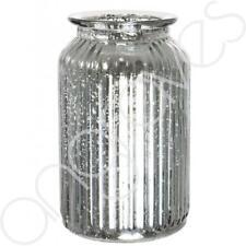 Splatter Silver Ribbed Flower Vase Jar Home Decoration Decor Ornament