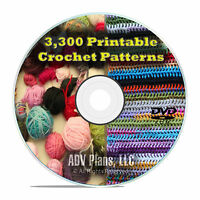 3,300 Printable Crochet Patterns and Plans, How to Crochet Afghans, Hats DVD E82