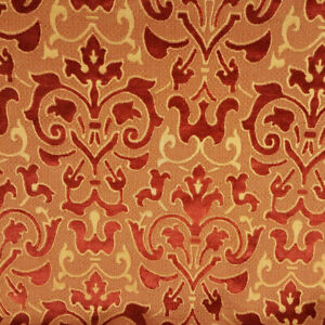"GOLD BURNT RED BAROQUE CHENILLE UPHOLSTERY BROCADE FABRIC 58"" BY THE YARD"