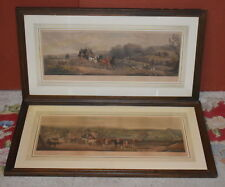 two large vintage antique fox hunting prints by W Shayer