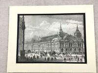 1875 Antique Print London Westminster Aquarium Building Victorian Architecture