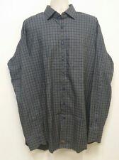 Thomas Dean Gray / Grey Check Button Front Flip Cuff Dress Shirt - XLT