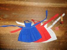 Vintage Barbie 962 BBQ Apron & Tools- Red, White and Blue Aprons - ALL EXCELLENT