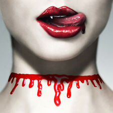 Halloween cut throat fake dripping blood effect necklace bleeding slashed neck
