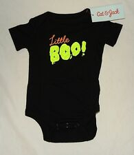 NEW Baby My First Halloween Little Boo One Piece Size 0-3 Month Black Ghost