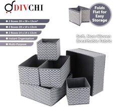 6 Piece Foldable Storage Container Box Drawer Divider Organiser Multi Purpose UK