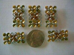 2 Hole Slider Beads Triple Blossoms Sm Topaz Crystal Made w/Swarovski Elements#5