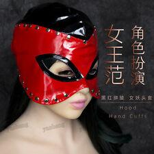 Fanatical Faux Leather Hood Eyes Open Mask NightClub Party Black/Red Clubwear