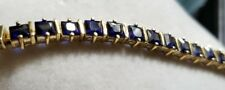Ross Simon yellow gold/Sterling silver sapphire blue princess tennis Bracelet