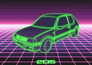 POSTER - PEUGEOT 205 NEON 3D - (A4, A3, A2) - Car Art Vector Retro 80's