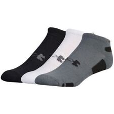 Under Armour Men's No Show Socks 3 Pair Pack Large Black Grey White Heatgear New