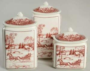 222 Fifth Poinsettia Toile 3 Piece Canister Set 10409161