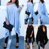Womens Plus Size Loose Tunic Tops Off Shoulder Batwing Long Blouse Irregular Tee