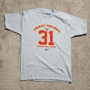 Kansas City Chiefs Reebok Priest Holmes Grey T Shirt Mens Size Medium Number 31