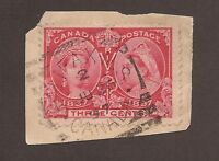 CANADA #53 USED SQUARED CIRCLE CANCEL JUBILEE FULLY DATED ON PIECE