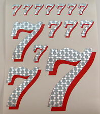 Racing Numbers Number 7 Decal Sticker Pack Silver Red 1/8 1/10 RC models S03
